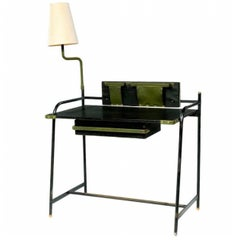 Extremely Rare Leather Desk by Jacques Adnet