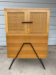 eXTREMELY Rare Modernist Chest, mahogany / cane/ iron  by Red Lion Table Co