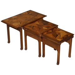 Extremely Rare Nest of Emile Galle circa 1900 Specimen Wood Tables Art Nouveau