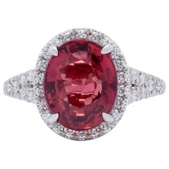 Extremely Rare No Heat GIA 5.10 Carat Red-Orange Sapphire Diamond Ring