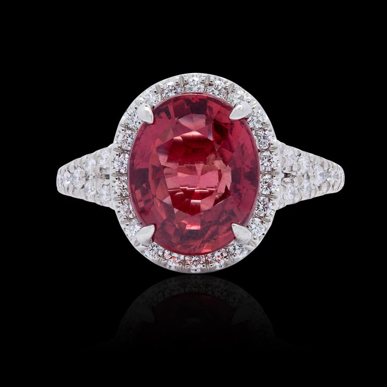 Oval Cut Extremely Rare No Heat GIA 5.10 Carat Red-Orange Sapphire Diamond Ring For Sale