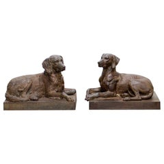 Extremely Rare Pair of 19th Century Cast Iron Dogs by J.J. Ducel, Paris
