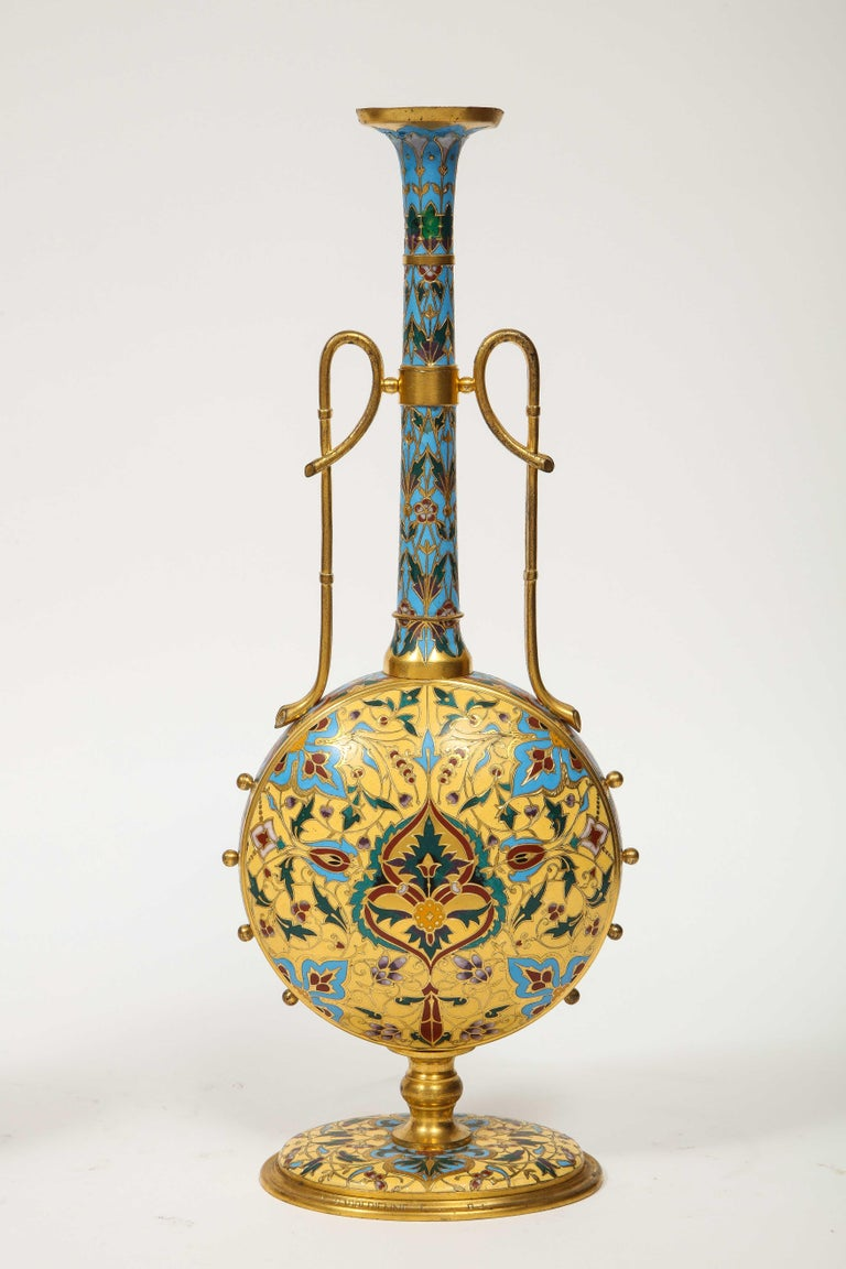 Extremely Rare Pair of Ferdinand Barbedienne Ormolu and Champlevé Enamel Vases For Sale 4
