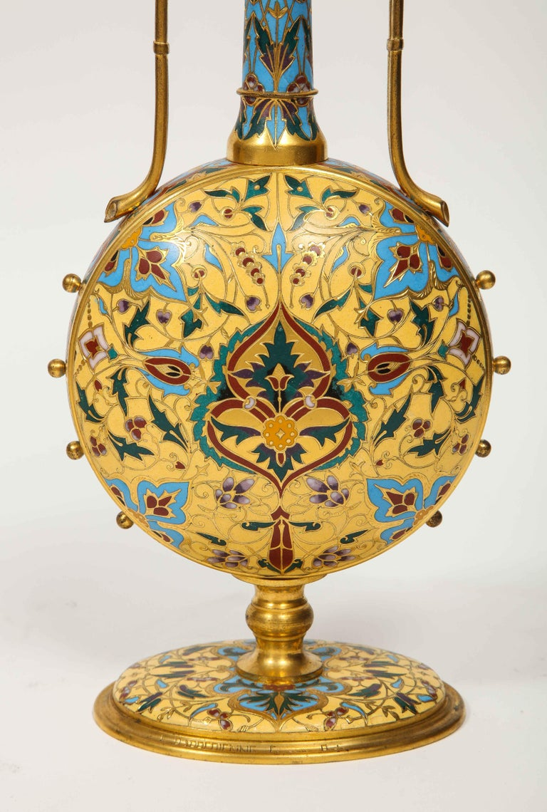 Extremely Rare Pair of Ferdinand Barbedienne Ormolu and Champlevé Enamel Vases For Sale 5