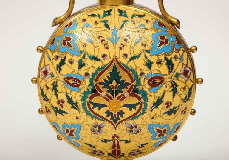 Extremely Rare Pair of Ferdinand Barbedienne Ormolu and Champlevé Enamel Vases For Sale 7