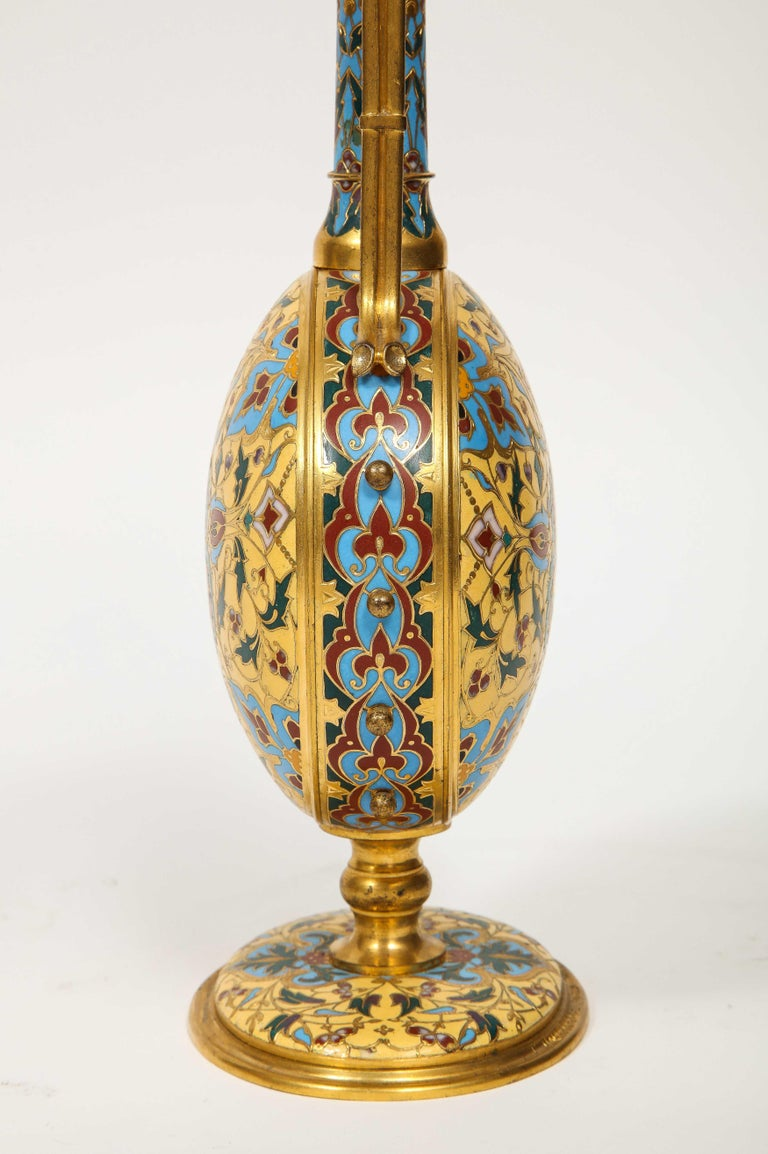 Extremely Rare Pair of Ferdinand Barbedienne Ormolu and Champlevé Enamel Vases For Sale 8