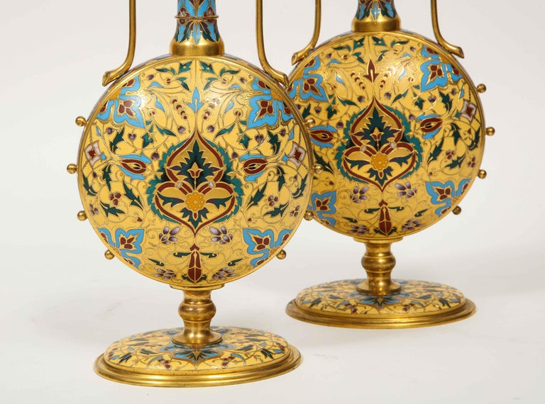 Extremely Rare Pair of Ferdinand Barbedienne Ormolu and Champlevé Enamel Vases For Sale 9