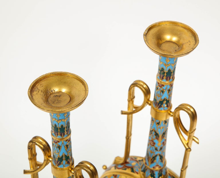 Extremely Rare Pair of Ferdinand Barbedienne Ormolu and Champlevé Enamel Vases For Sale 10