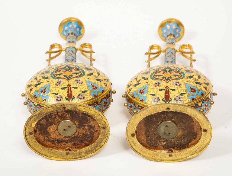 Extremely Rare Pair of Ferdinand Barbedienne Ormolu and Champlevé Enamel Vases For Sale 11