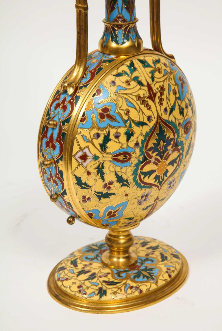 Extremely Rare Pair of Ferdinand Barbedienne Ormolu and Champlevé Enamel Vases For Sale 14