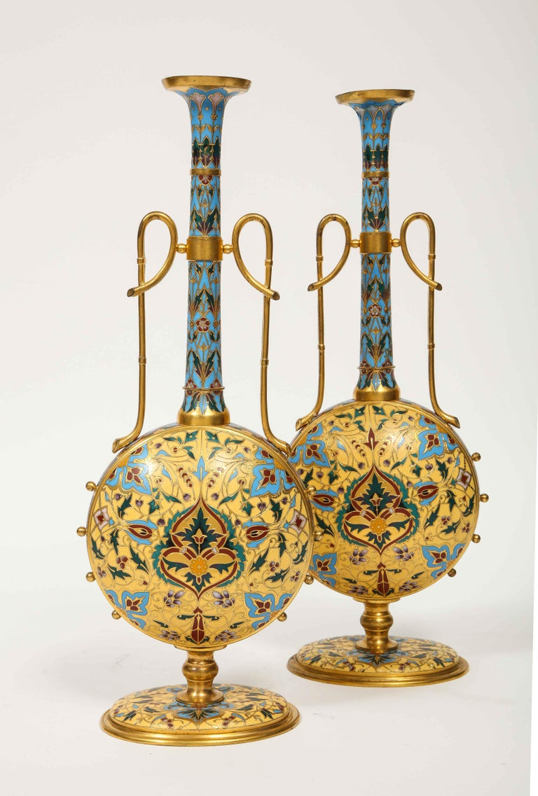 Napoleon III Extremely Rare Pair of Ferdinand Barbedienne Ormolu and Champlevé Enamel Vases For Sale