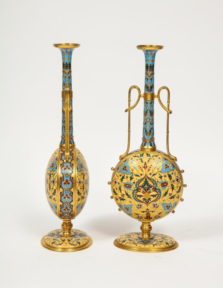 Extremely Rare Pair of Ferdinand Barbedienne Ormolu and Champlevé Enamel Vases In Good Condition For Sale In New York, NY