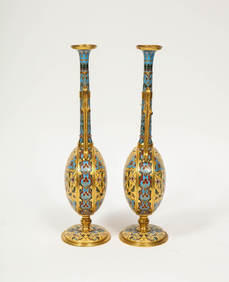 19th Century Extremely Rare Pair of Ferdinand Barbedienne Ormolu and Champlevé Enamel Vases For Sale