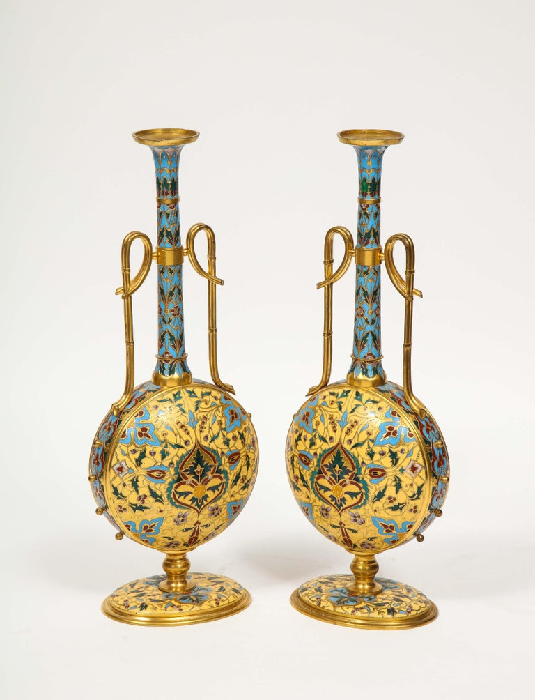 Extremely Rare Pair of Ferdinand Barbedienne Ormolu and Champlevé Enamel Vases For Sale 1