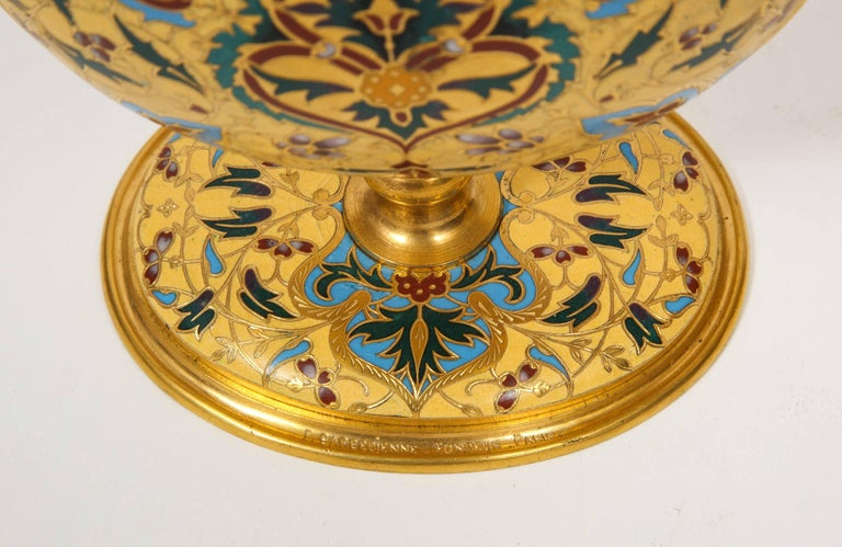 Extremely Rare Pair of Ferdinand Barbedienne Ormolu and Champlevé Enamel Vases For Sale 2