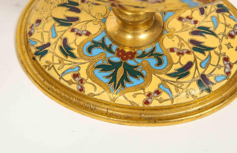 Extremely Rare Pair of Ferdinand Barbedienne Ormolu and Champlevé Enamel Vases For Sale 3