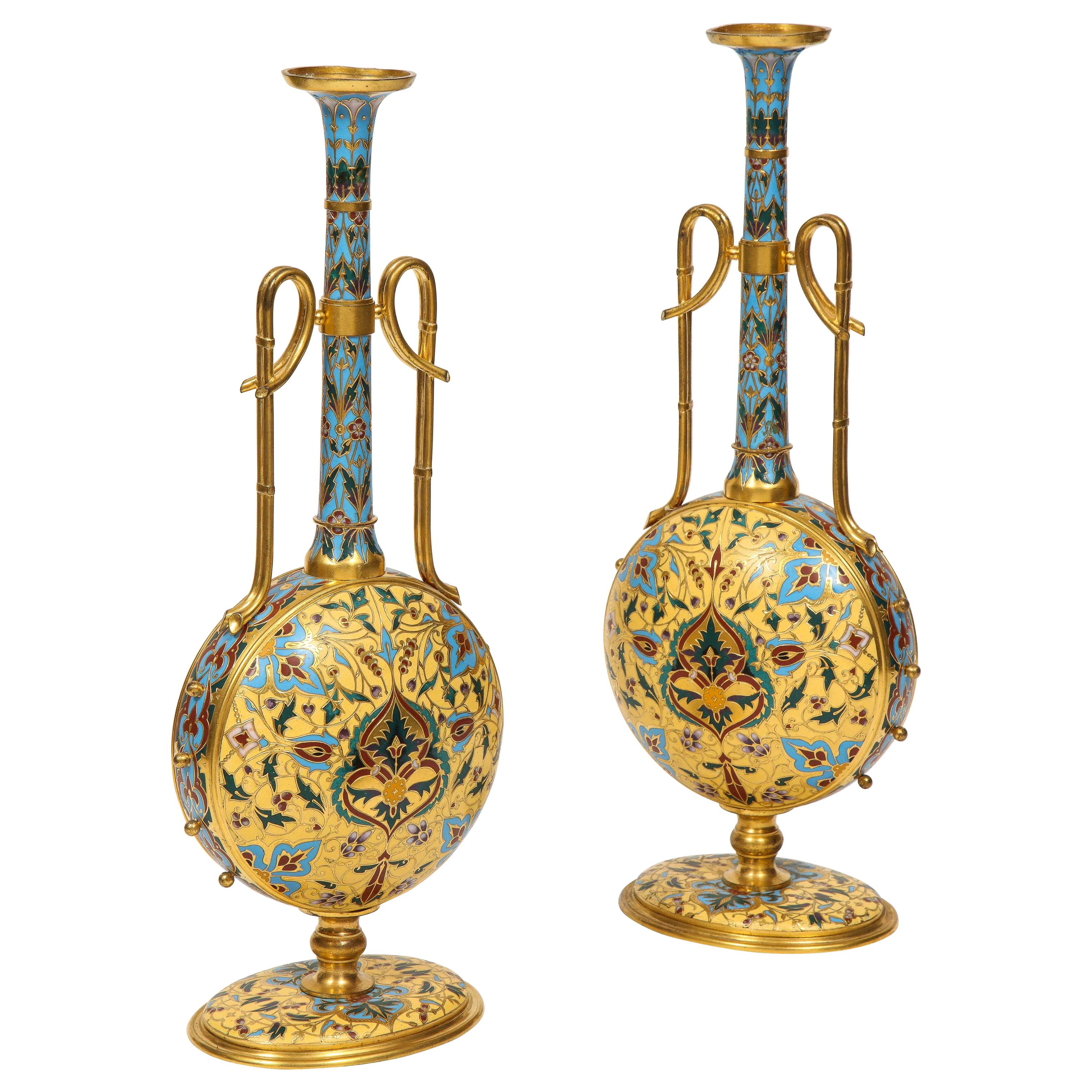 Extremely Rare Pair of Ferdinand Barbedienne Ormolu and Champlevé Enamel Vases