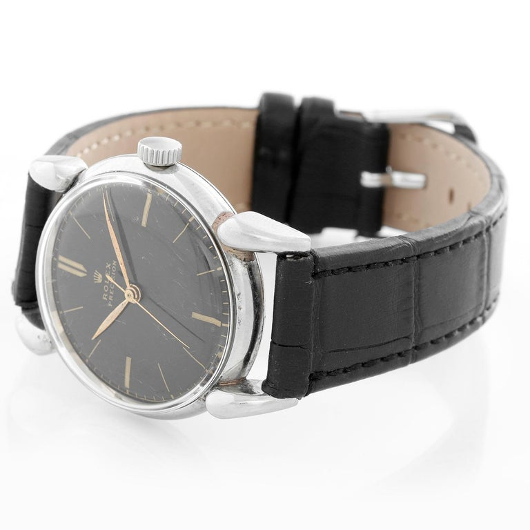 Extremely Rare Rolex Oyster Precision Men's Vintage Stainless Steel Watch 4417 - Manual winding. Stainless steel case with smooth bezel  with oversize Art Deco lugs  (36mm diameter). Black dial with gold stick hour markers. Black alligator strap
