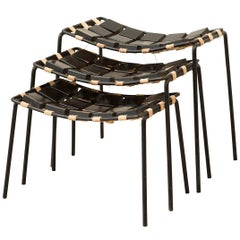 Extremely Rare Set of Three Stacking Stools Designed by Maxwell Yellen, Yellen I
