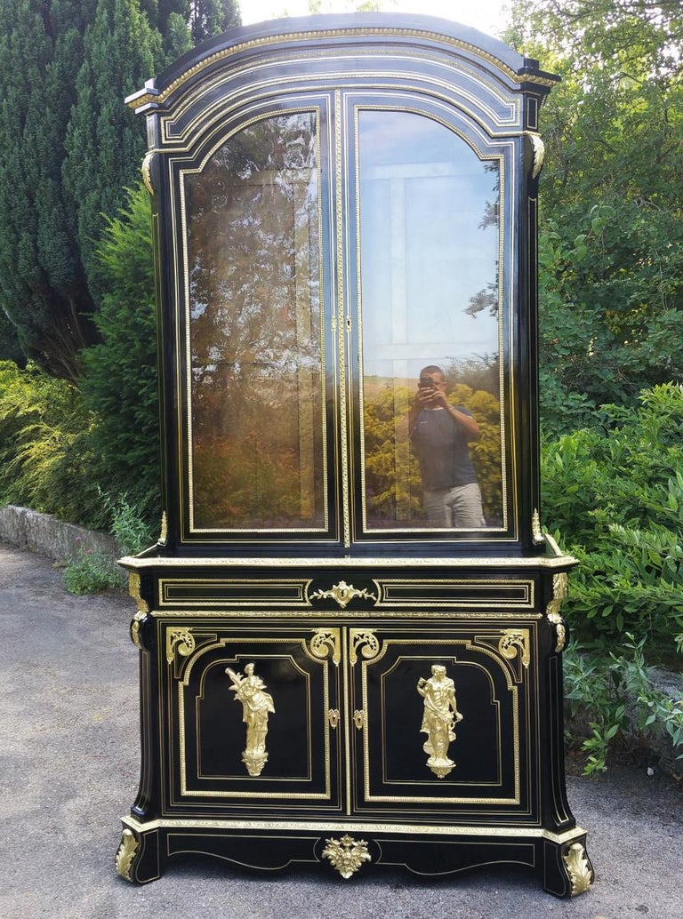 Napoleon Iii Extremely Rare Tall Impressive Boule Befort Jeune Bookcase Cabinet For