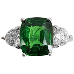 Extremely Rare Tsavorite and White Diamond 3-Stone Ring