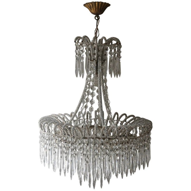 Extremely Rare Victorian Crystal Waterfall Chandelier  For Sale