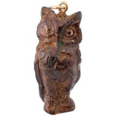 Extremely Rare Vintage Carved Boulder Opal Owl Charm