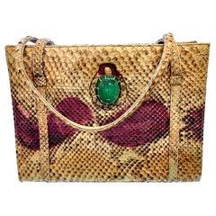 Extremely Rare Vintage Martin Van Schaak Snake Skin Hand Bag