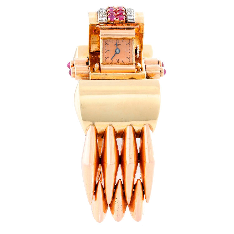 Extremely Unique Harman Multi-Color Gold Retro Cuff Ladies Watch
