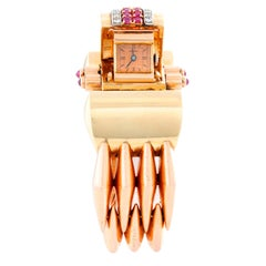 Extremely Unique Harman Multi-Color Gold Retro Cuff Ladies Watch
