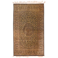 Extremley Fine Persian Qum Silk On Silk, Hand Knotted
