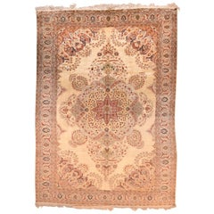 Extremely Fine and Rare Antique Turkish Herekeh Rug Silk on Silk with Gold Metal