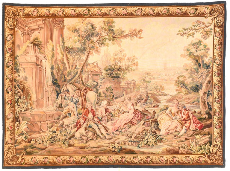 Extremely Fine Antique Aubusson-Beauvais Pictorial French Tapestry In Excellent Condition For Sale In Chevy Chase, MD
