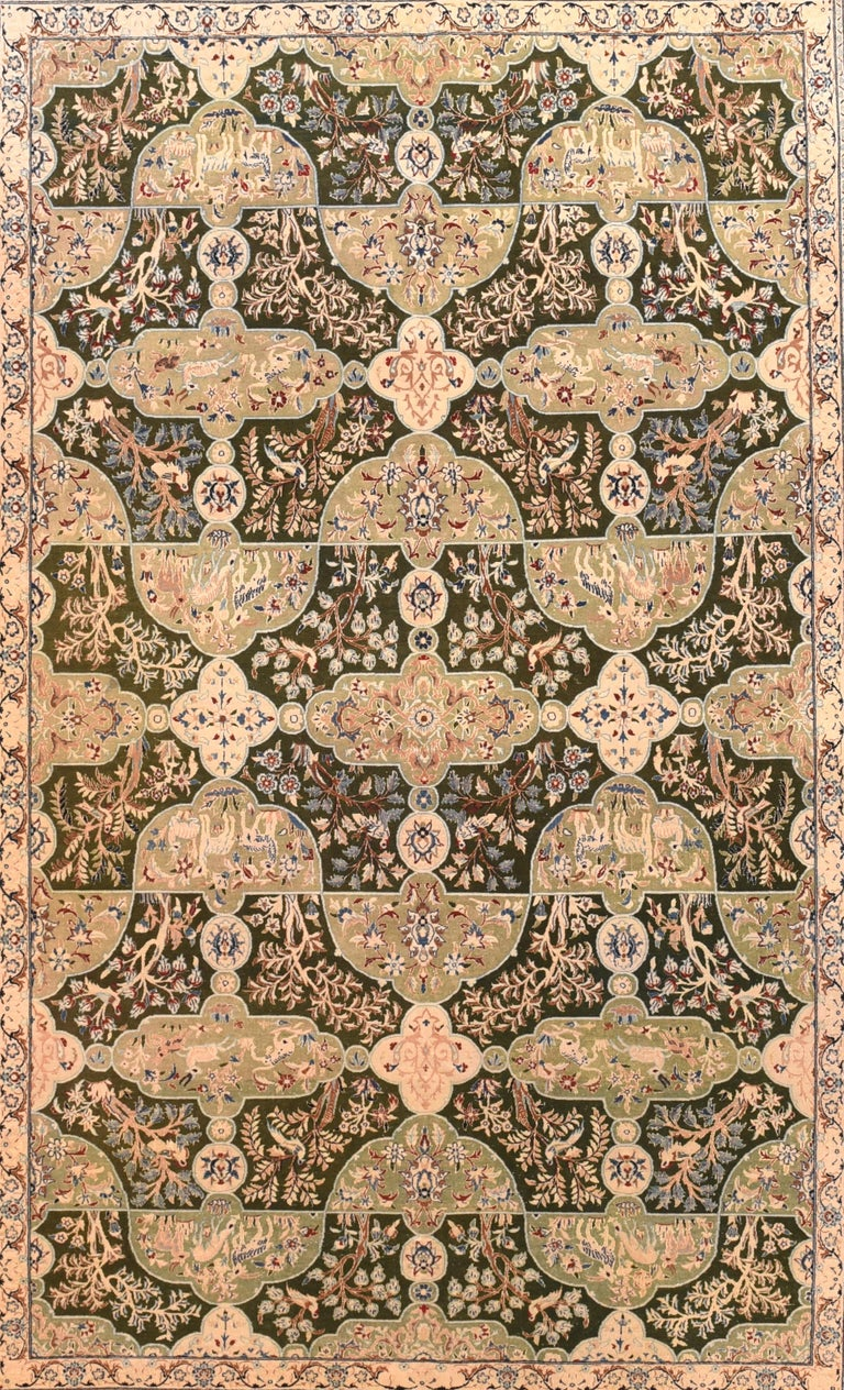 Nain rugs are constructed using the Persian knot and typically have between 300 and 700 knots per square inch. The pile is usually very high quality wool, clipped short, and silk is often used as highlighting for detail in the design.  Habibian is