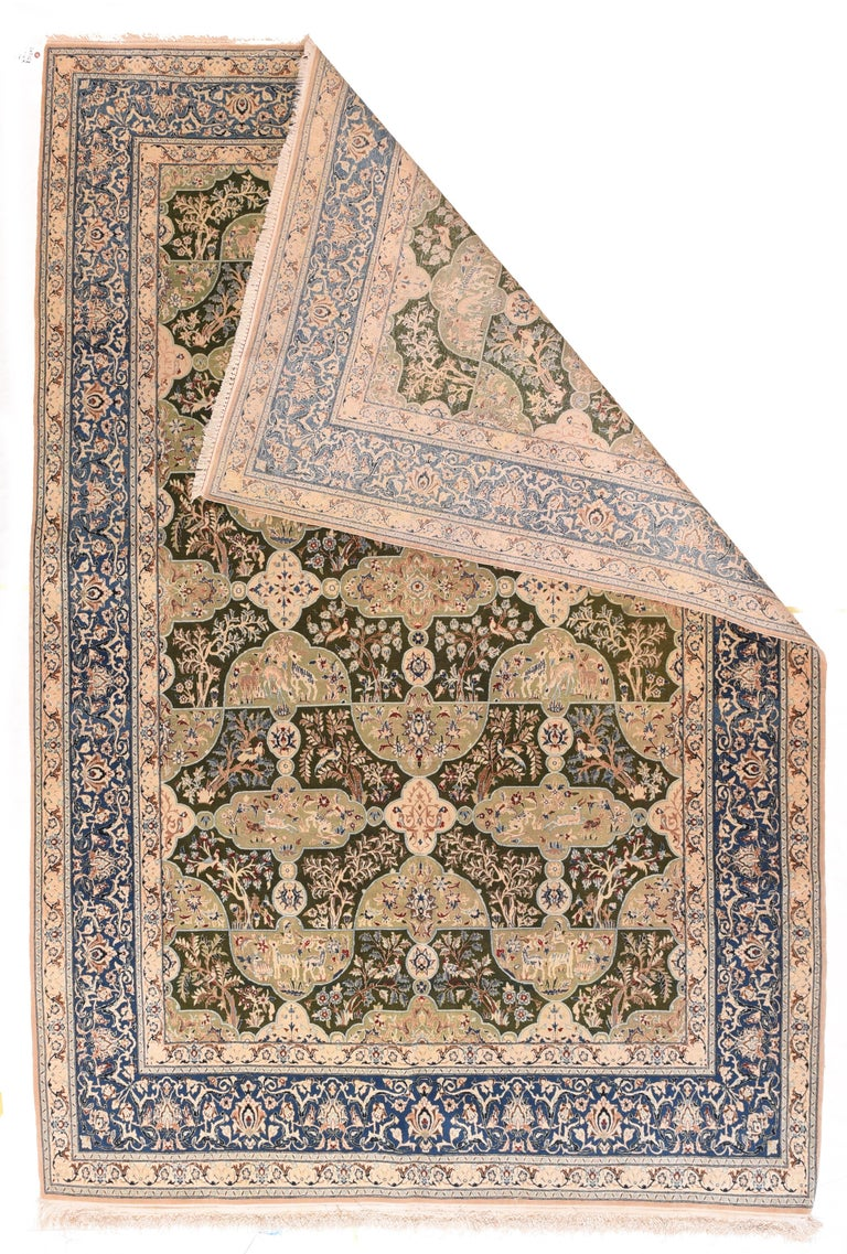 Hand-Knotted Fine Persian Naeen For Sale