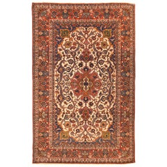 Extremly Fine Antique Persian Isfahan Rug Hand Knotted Wool and Silk, circa 1920