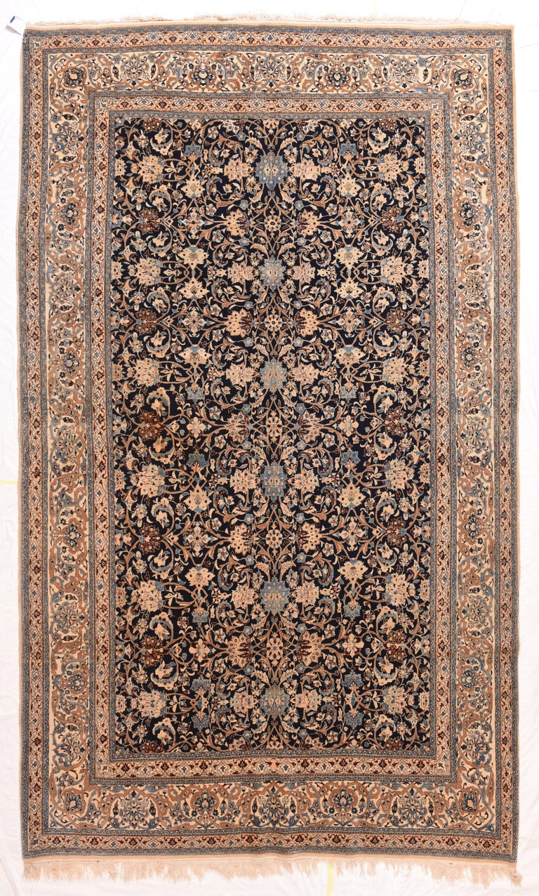 Hand-Knotted Fine Persian Naeen Area Rug For Sale