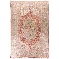 Antique Persian Silk Tabriz Haji Jalili Area Rug, Silk on Silk Hand Knotted