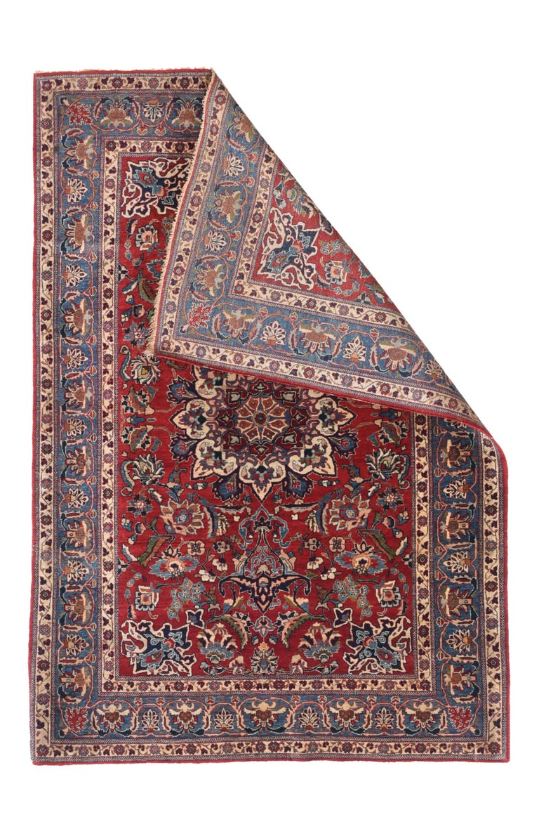 Hand-Knotted Antique Persian Toudeshk Naeen Area Rug For Sale