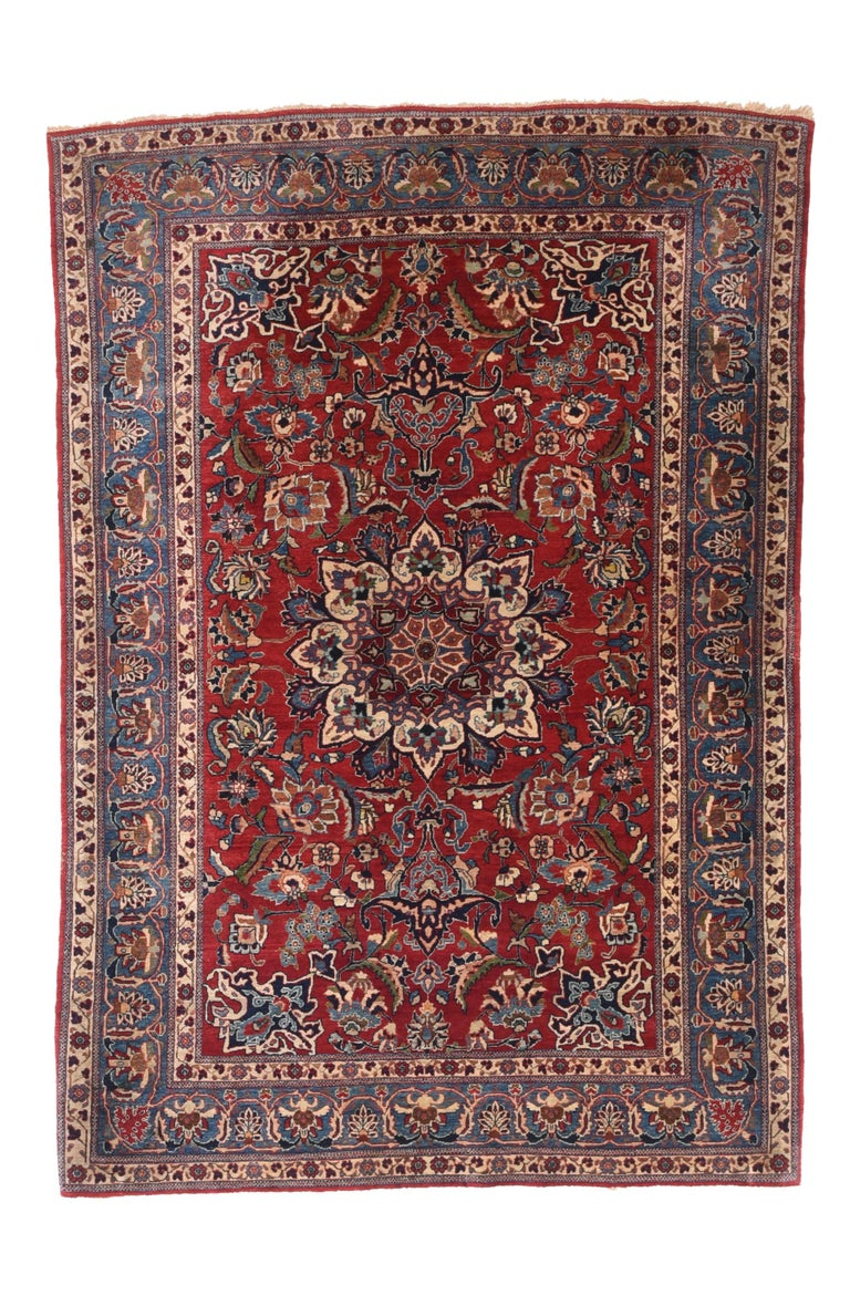 Antique Persian Toudeshk Naeen Area Rug In Good Condition For Sale In Chevy Chase, MD