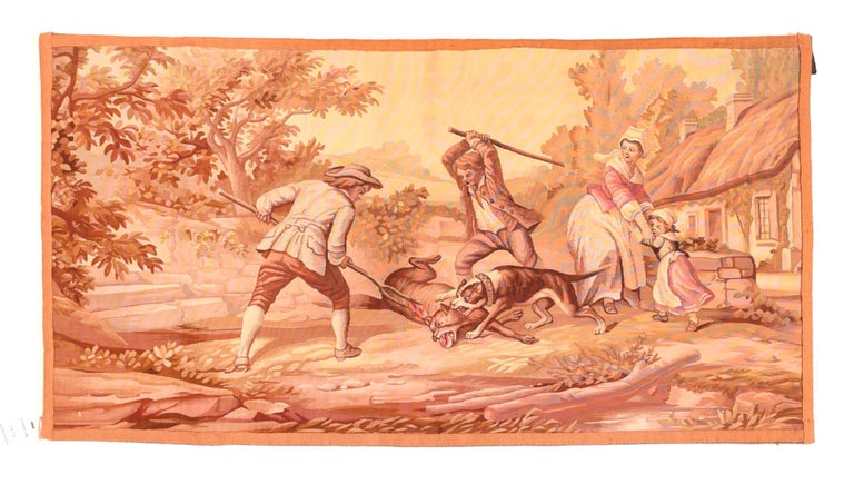 Other Extremely Fine Antique Pictorial French Tapestry Hand Knotted circa 19th Century For Sale