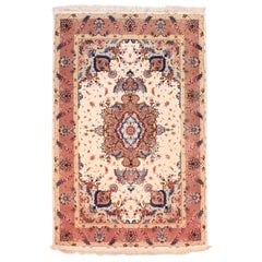 Extremly Fine Persian Tabriz Benam Rug, Hand Knotted, circa 1970s
