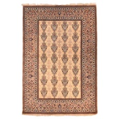 Extremely Fine Vintage Persian Isfahan Rug, Hand Knotted, Flower Silk Foundation