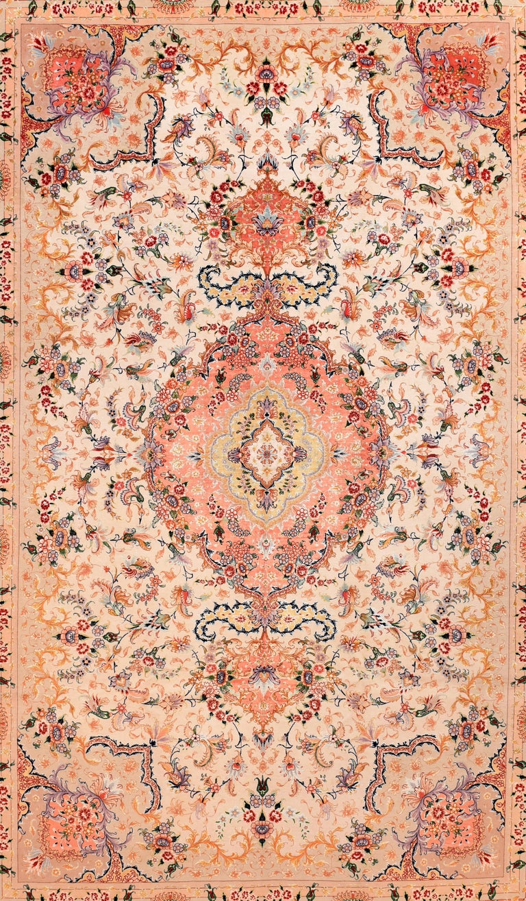 Extremely fine vintage Persian Tabriz rug, hand knotted, circa 1970s  Design: Floral - Signed by Master Weaver  A Tabriz rug/carpet is a type in the general category of Persian carpets. from the city of Tabriz, the capital city of East