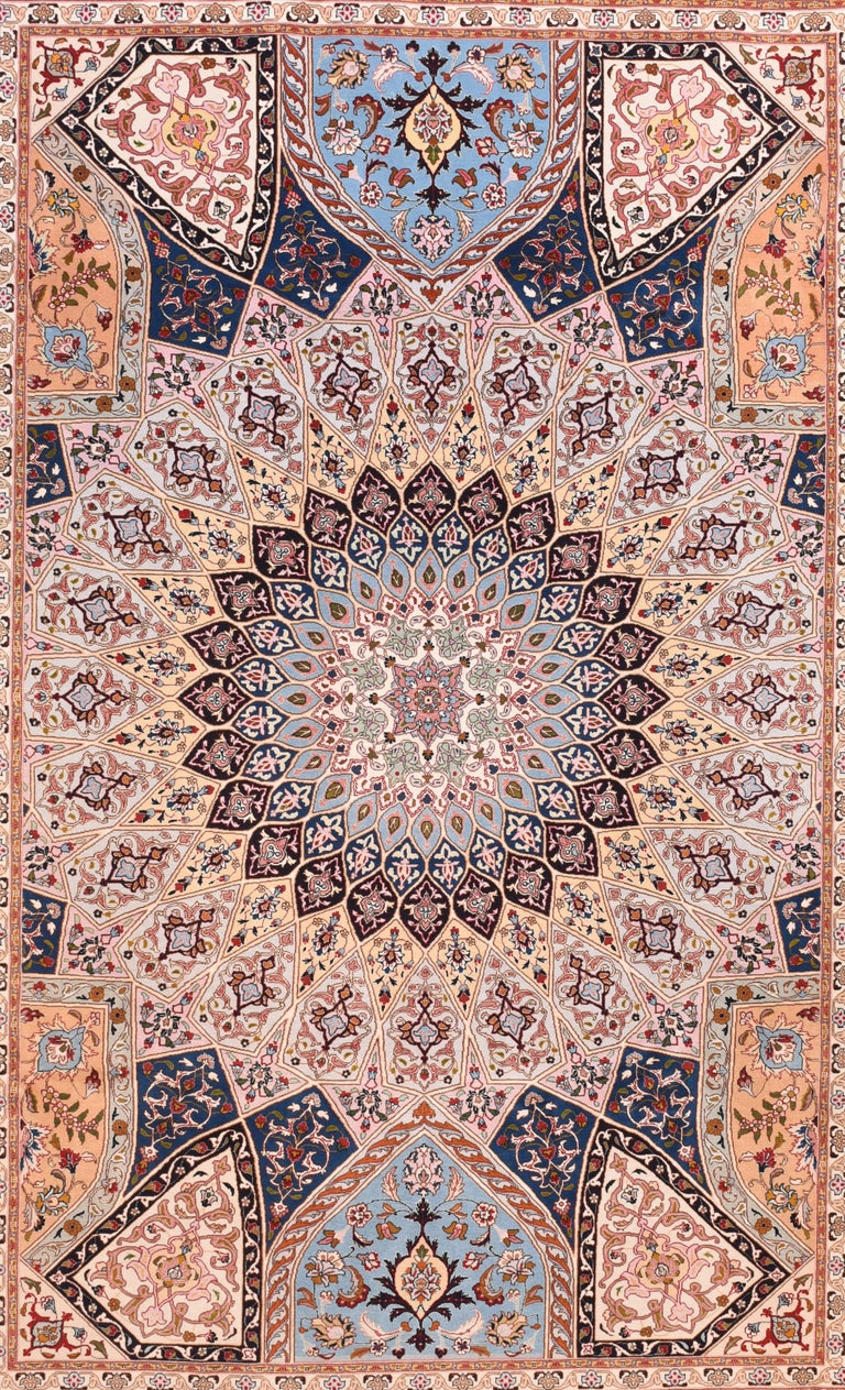 Extremly fine vintage Persian Tabriz rug, hand knotted, circa 1970s Design: Gombad  A Tabriz rug/carpet is a type in the general category of Persian carpets. from the city of Tabriz, the capital city of East Azarbaijan Province in north west of