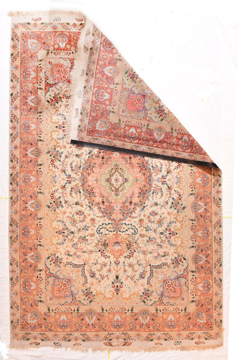 Hand-Knotted Extremly Fine Vintage Persian Tabriz Rug, Hand Knotted, circa 1970s For Sale