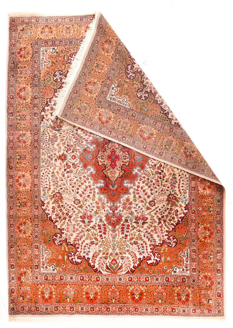 Hand-Knotted Extremely Fine Vintage Persian Tabriz Rug, Hand Knotted, circa 1970s For Sale