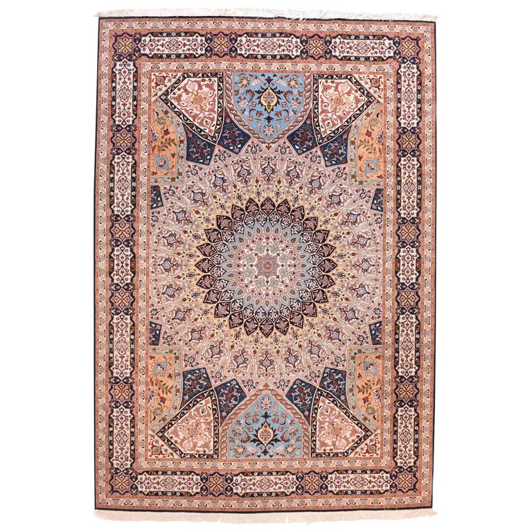Extremely Fine Vintage Persian Tabriz Rug, Hand Knotted, circa 1970s For Sale