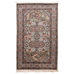 Extremely Fine Vintage Qum Persian Rug, Hand Knotted, circa 1970s, Silk on Silk