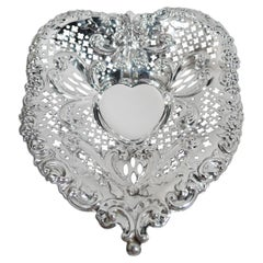 Exuberantly Romantic Sterling Silver Heart Bowl by Gorham